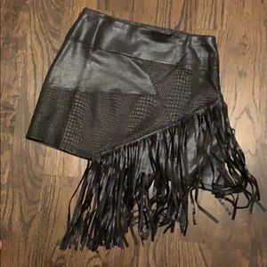 NWOT faux snakeskin and fringe skirt. Size small